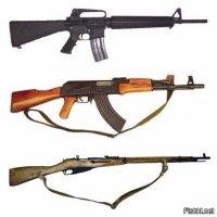 AK47, М16 и Трёхлинейка в сравнении